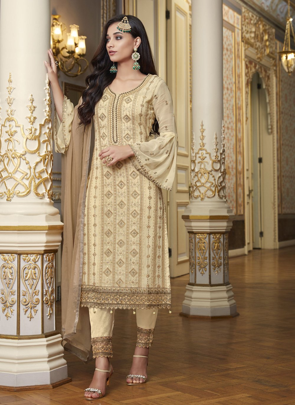 Beige Embroidered Designer Pakistani Suit