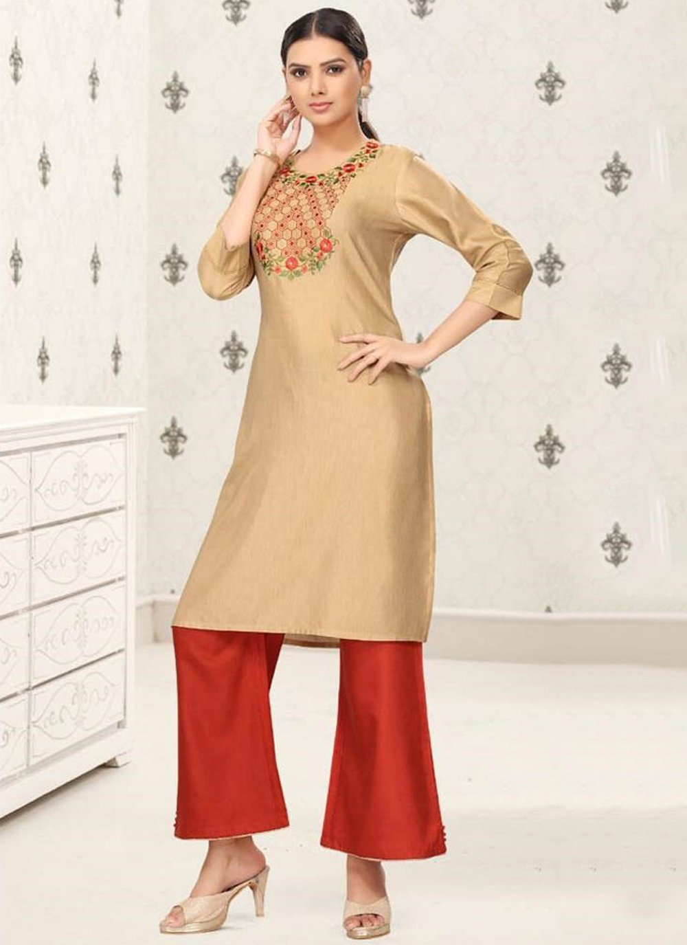 Beige Embroidered Festival Party Wear Kurti