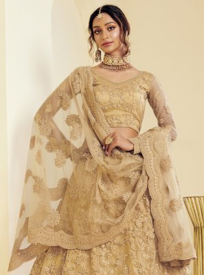 Beige Embroidered Lehenga Choli