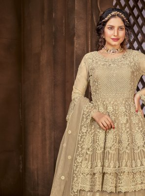 Beige Embroidered Net Long Choli Lehenga