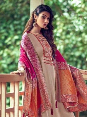 Beige Embroidered Palazzo Designer Salwar Suit