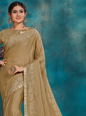 Beige Embroidered Poly Silk Designer Traditional Saree