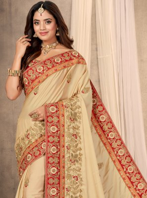 Beige Embroidered Satin Designer Saree
