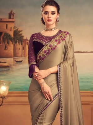 Beige Embroidered Silk Designer Saree