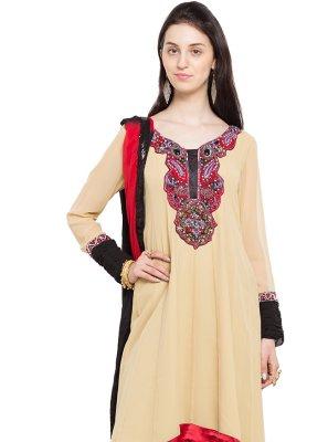 Beige Engagement Faux Georgette Readymade Anarkali Salwar Suit