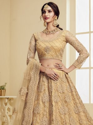 Beige Engagement Net Lehenga Choli