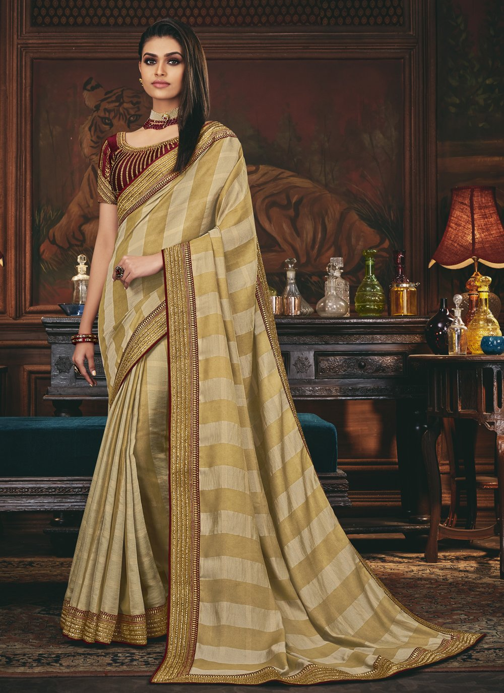 Beige Engagement Silk Traditional Designer Saree