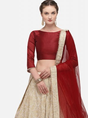 Beige Fancy Banarasi Silk Lehenga Choli
