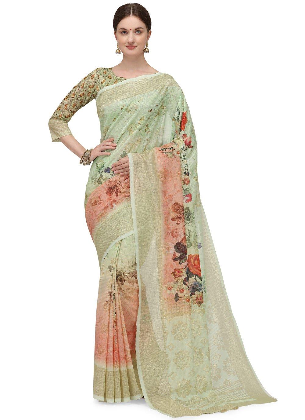 Beige Fancy Fabric Printed Printed Saree