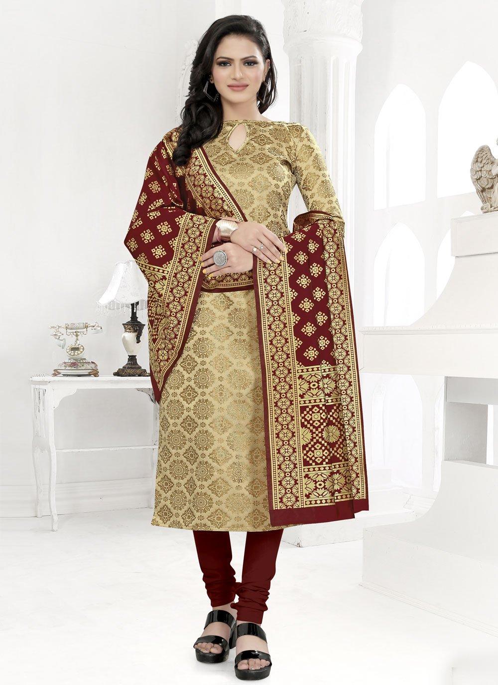Beige Fancy Fabric Weaving Churidar Suit
