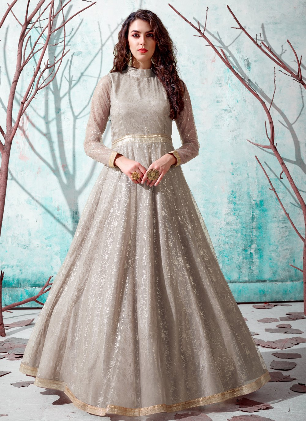 Beige Fancy Net Designer Gown
