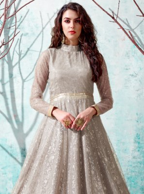 Beige Fancy Net Designer Gown