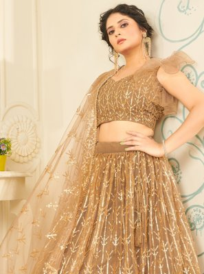 Beige Fancy Net Lehenga Choli