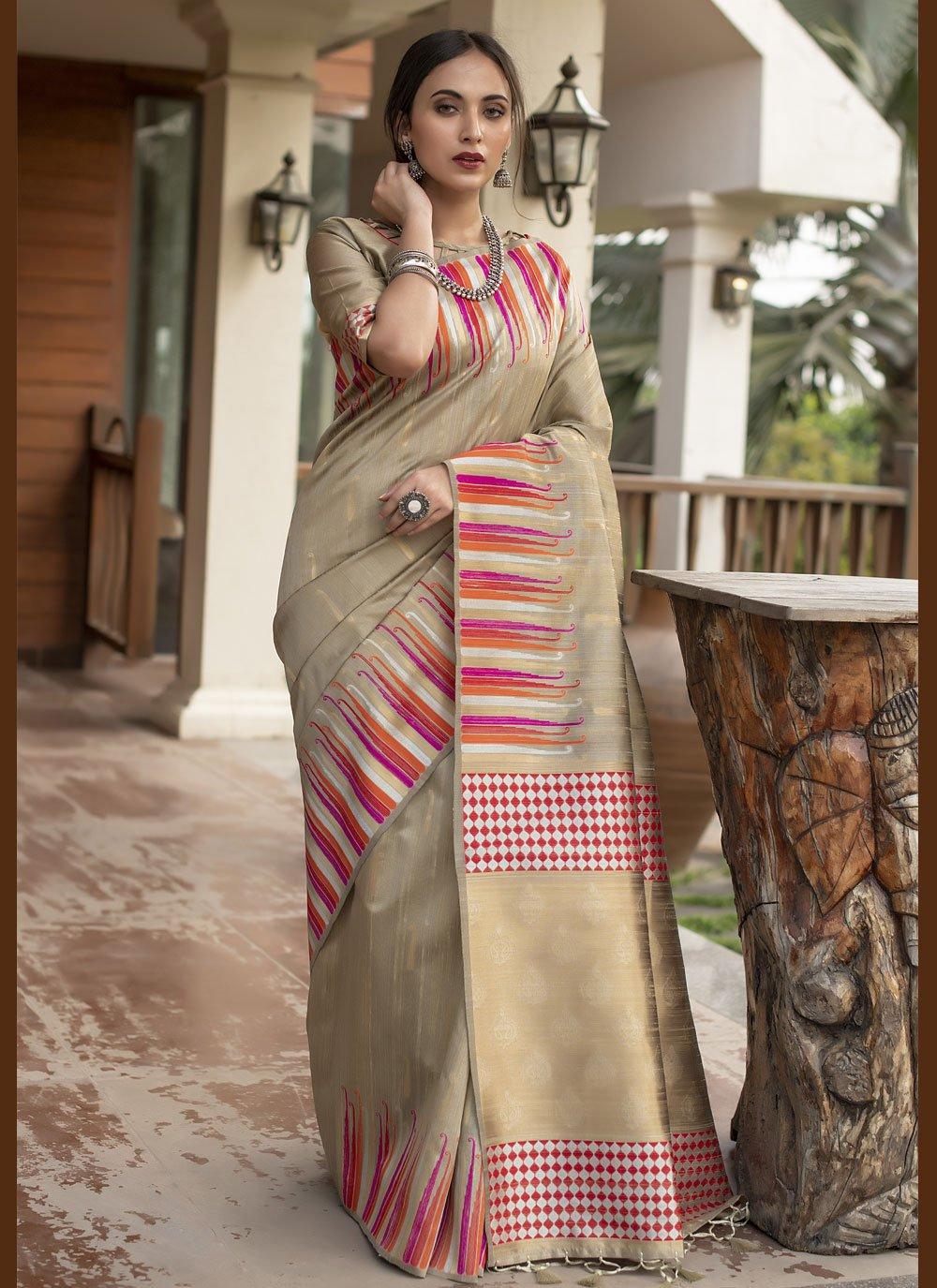 Beige Fancy Tussar Silk Traditional Designer Saree