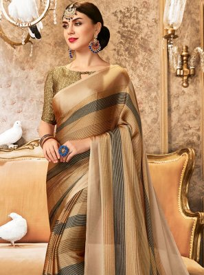 Beige Faux Chiffon Abstract Print Printed Saree
