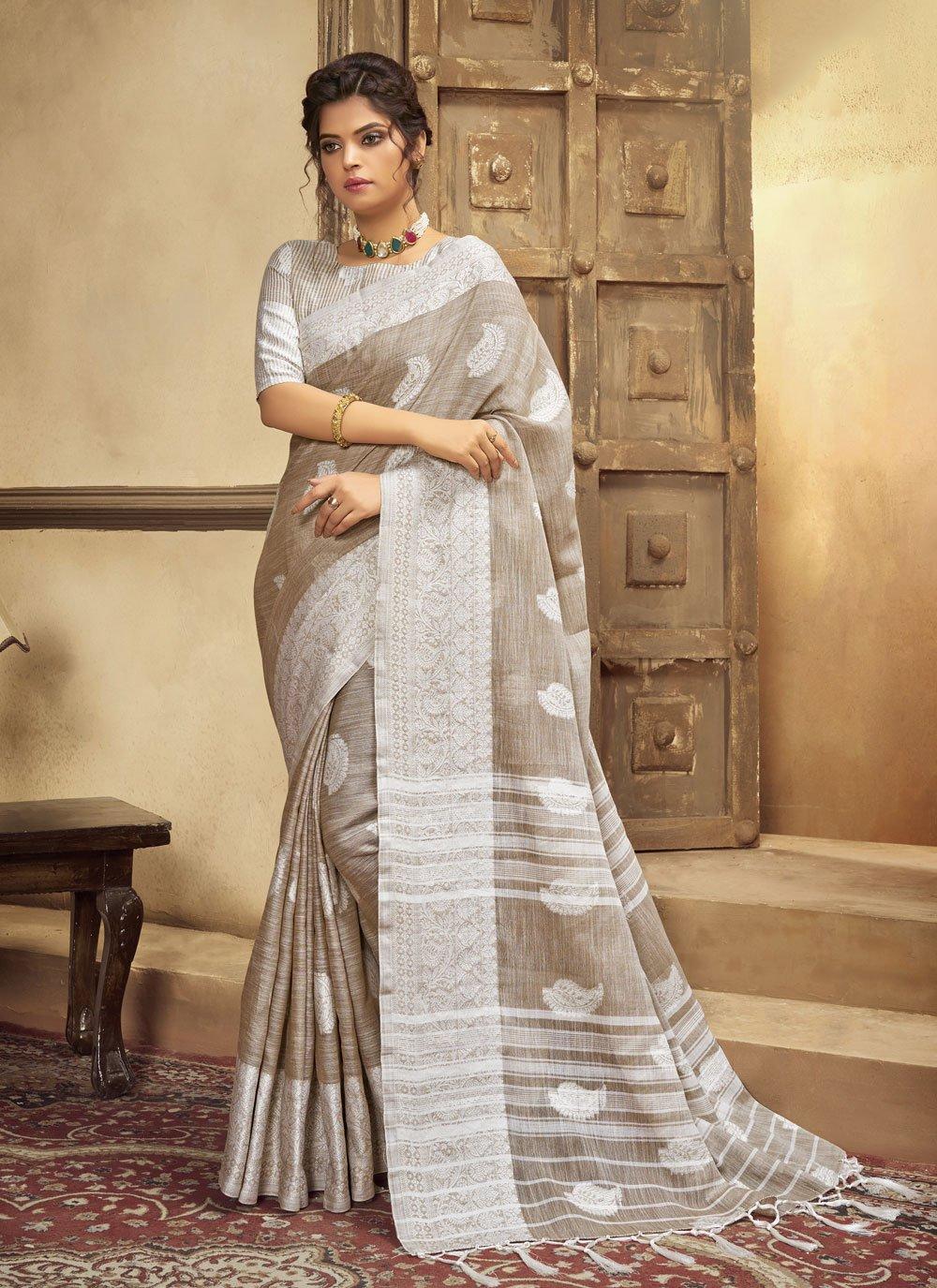 Beige Festival Cotton Traditional Saree