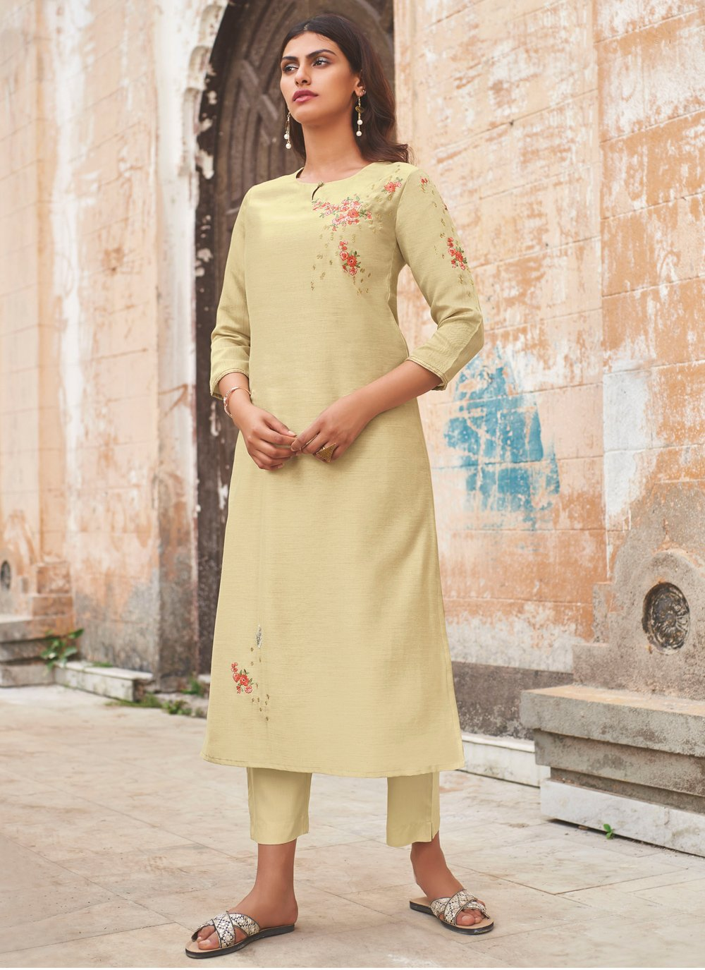 Beige Festival Party Wear Kurti