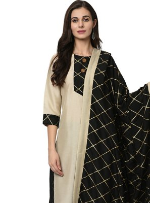 Beige Festival Poly Silk Readymade Suit