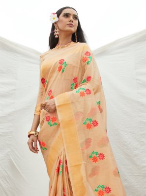 Beige Festival Traditional Designer Saree