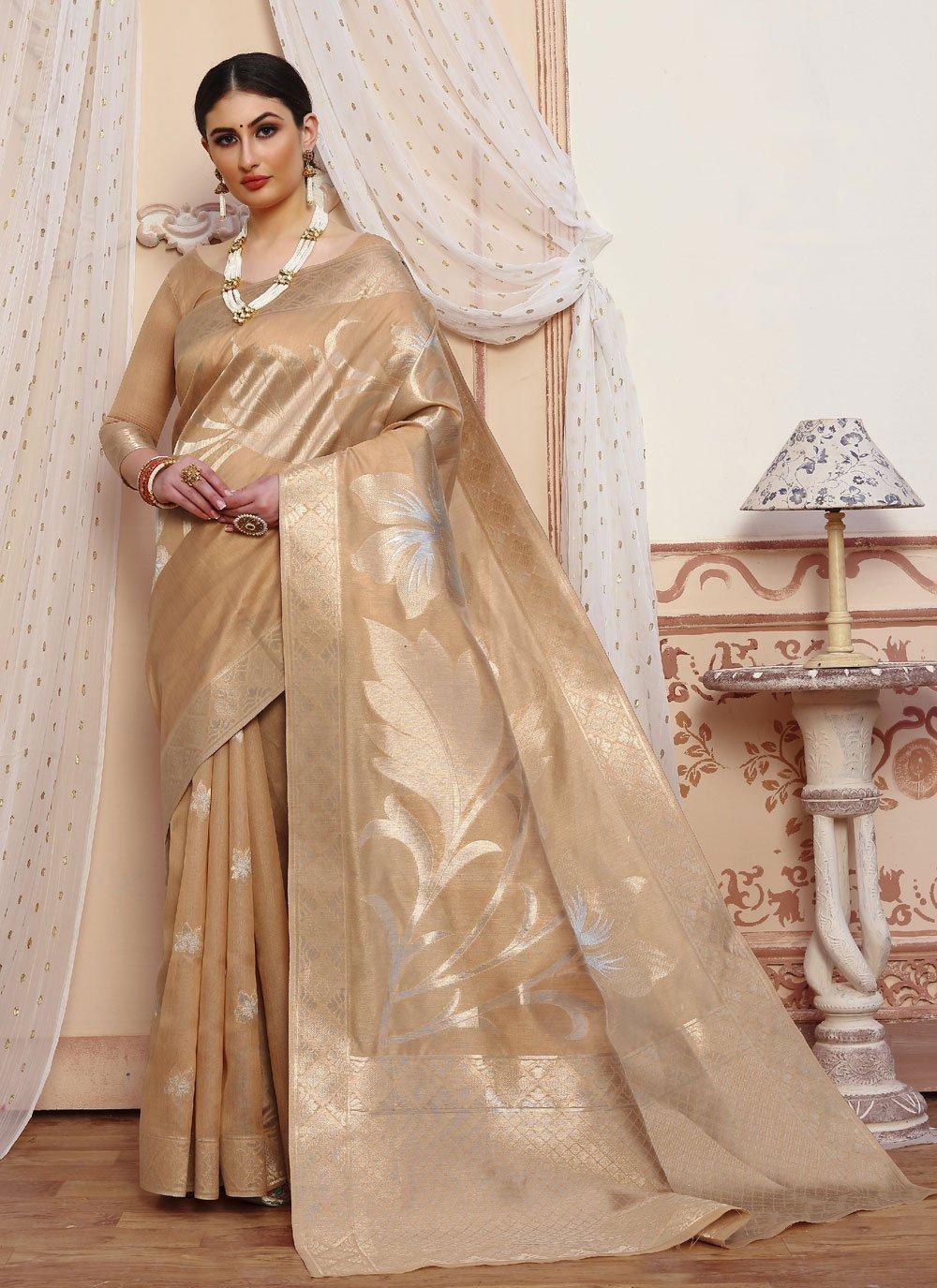 Beige Festival Traditional Designer Saree