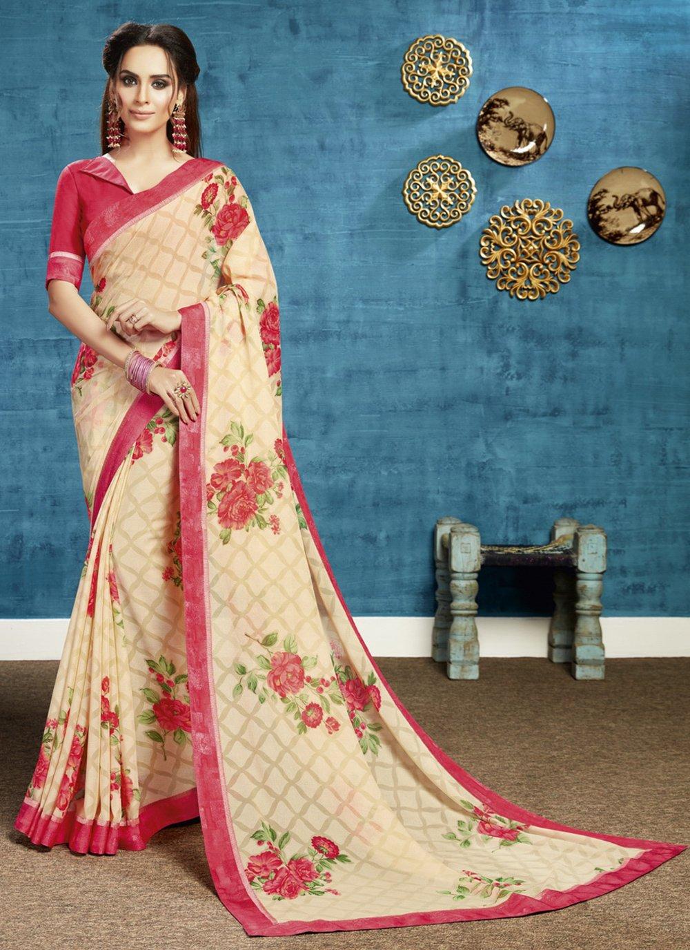 Beige Floral Print Classic Saree