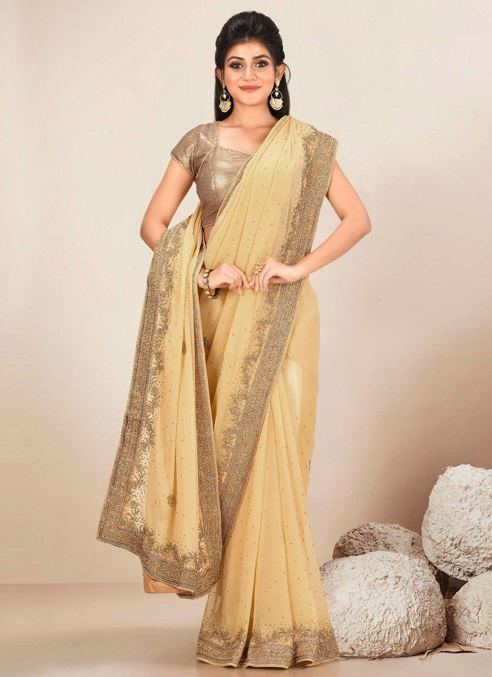Beige Handwork Classic Designer Saree