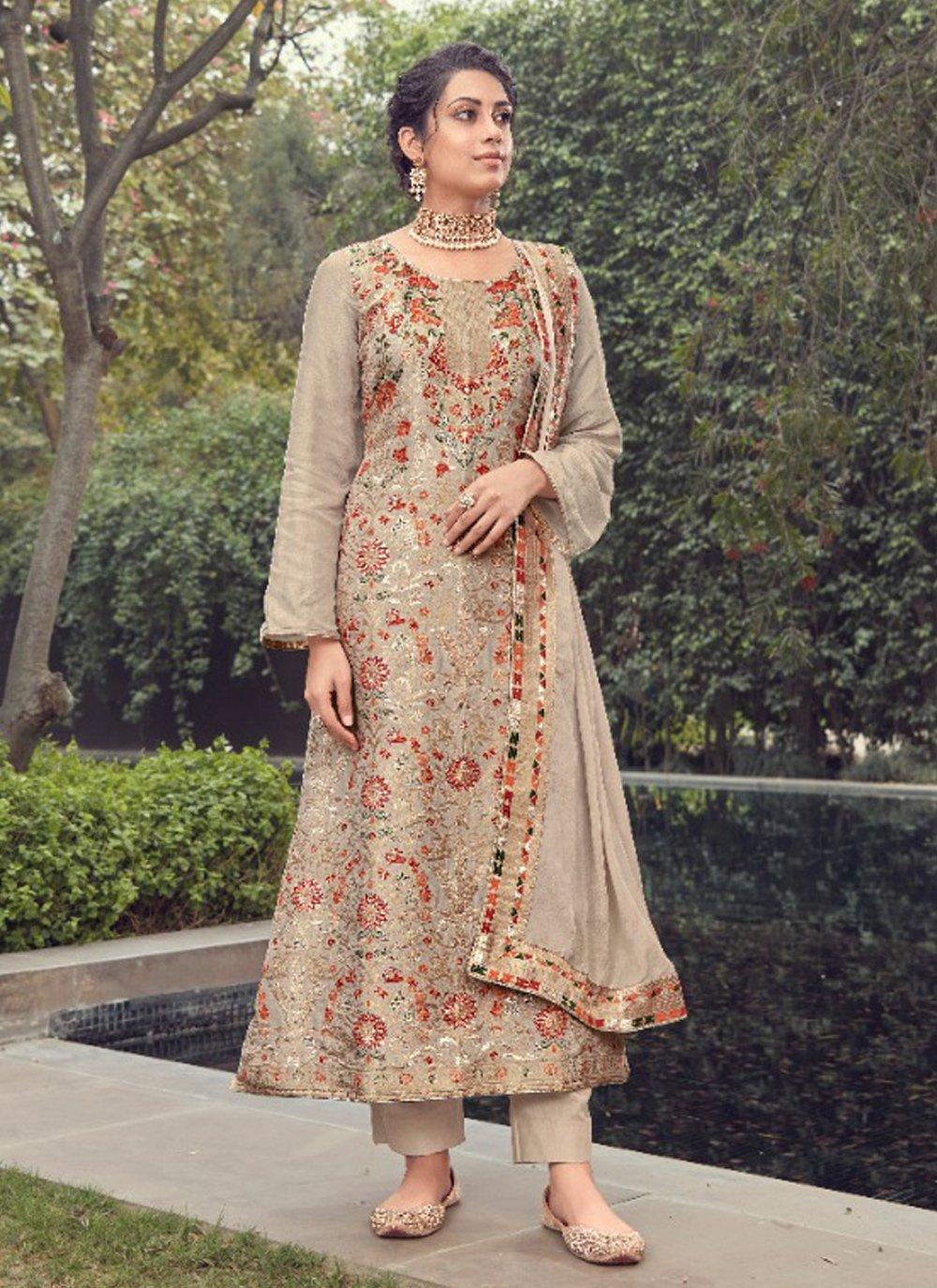 Beige Jacquard Silk Fancy Designer Pakistani Suit