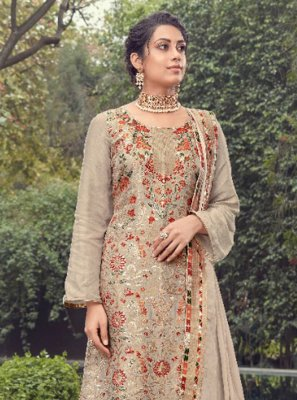 Beige Jacquard Silk Fancy Designer Pakistani Suit