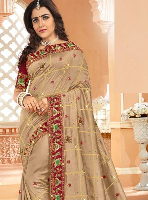 Beige Mehndi Silk Designer Saree