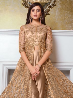 Beige Net Engagement Floor Length Anarkali Suit