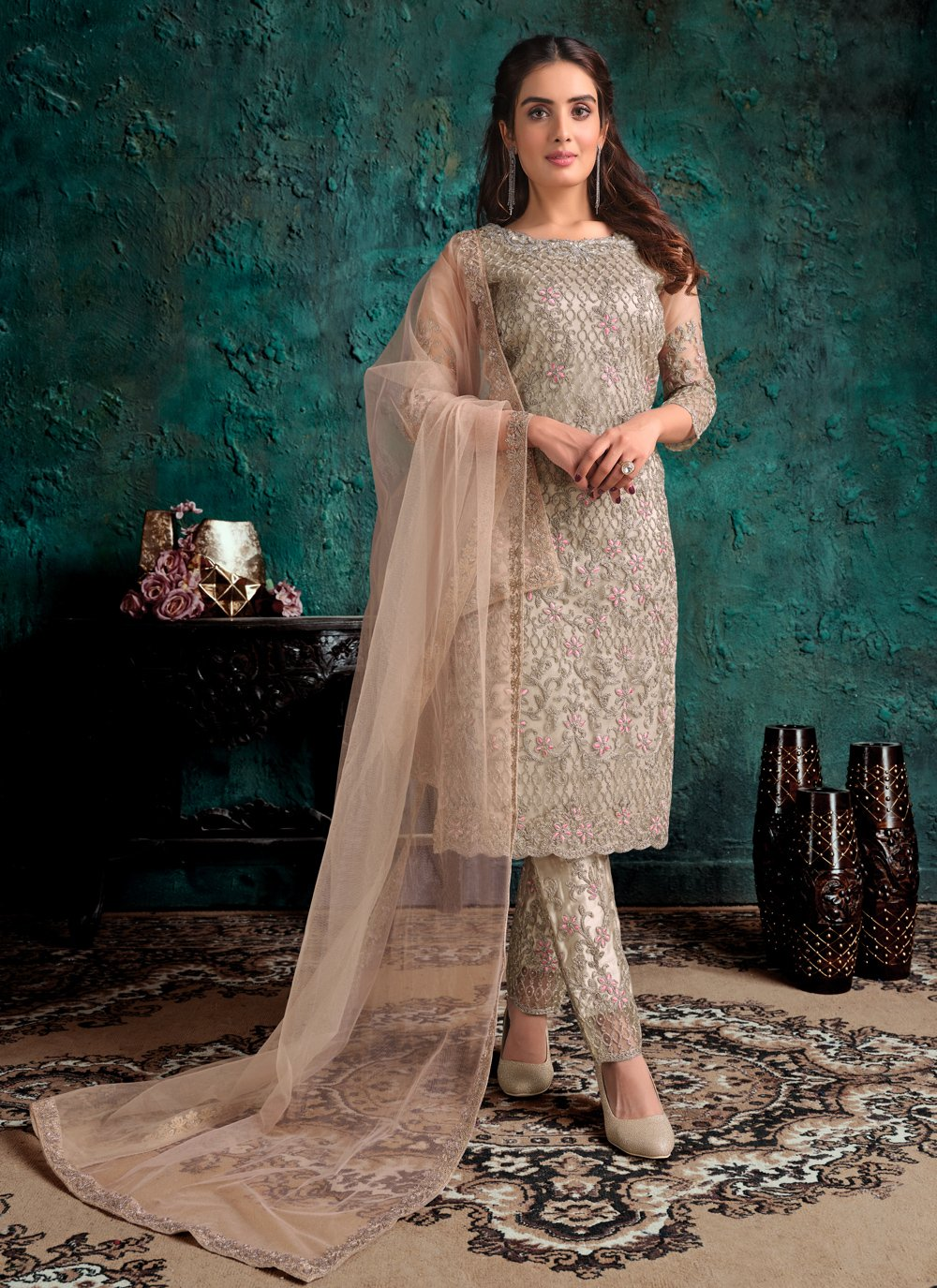 Beige Net Sangeet Designer Pakistani Suit