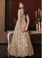 Beige Net Sequins Floor Length Anarkali Suit