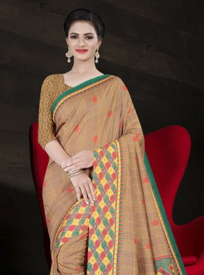 Beige Party Printed Saree
