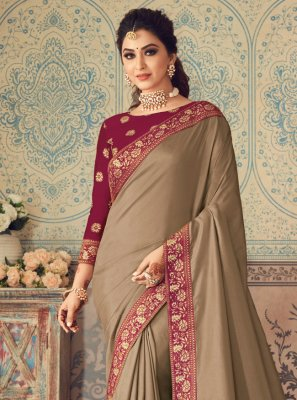 Beige Patch Border Traditional Designer Saree