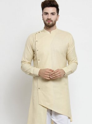 Beige Plain Cotton Kurta Pyjama