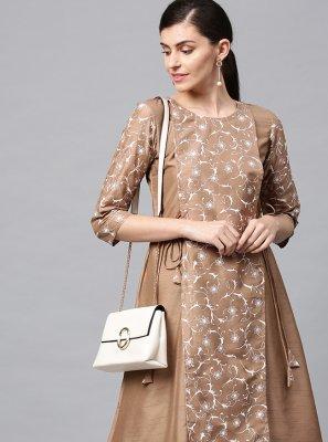Beige Print Poly Silk Designer Kurti