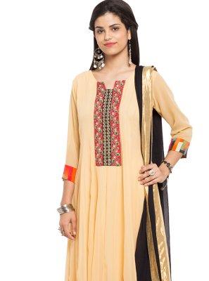 Beige Printed Faux Georgette Readymade Churidar Salwar Kameez