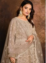Beige Resham Floor Length Anarkali Suit