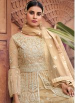Beige Resham Net Designer Pakistani Salwar Suit