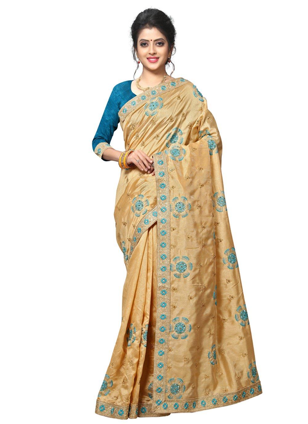 Beige Silk Classic Designer Saree