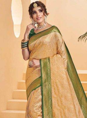 Beige Silk Designer Saree
