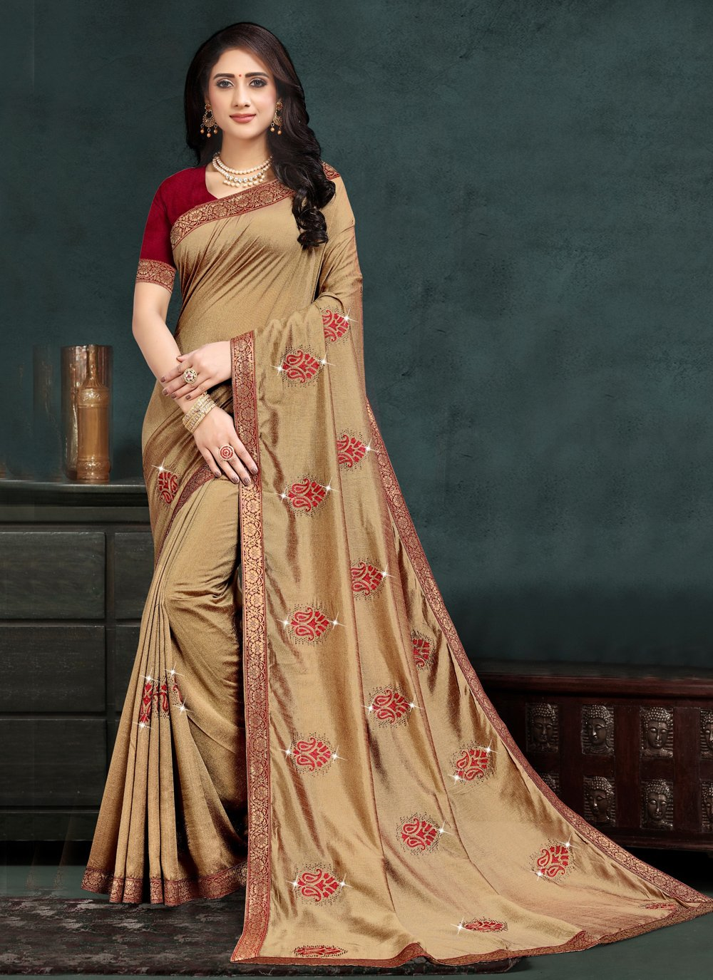 Beige Silk Designer Traditional Saree