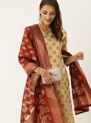 Beige Silk Festival Pant Style Suit
