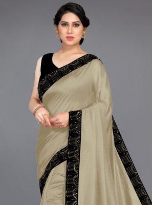 Beige Silk Stone Designer Traditional Saree