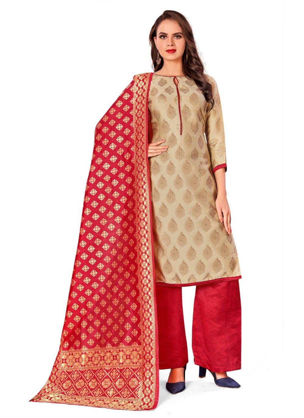 Beige Weaving Banarasi Silk Designer Palazzo Salwar Kameez