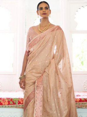 Beige Weaving Handloom silk Traditional Saree