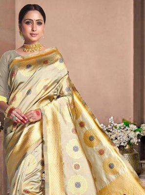 Beige Weaving Silk Classic Designer Saree