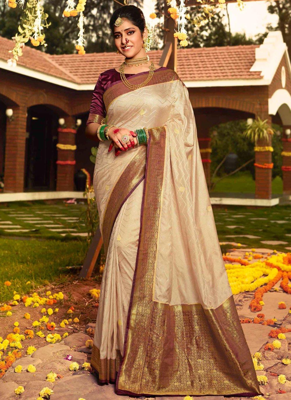 Beige Weaving Silk Traditional Saree