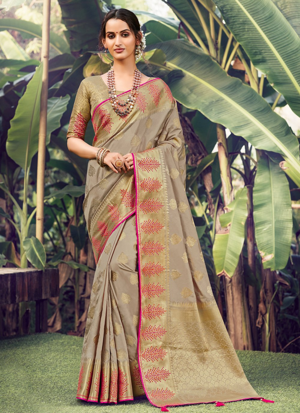 Beige Weaving Wedding Designer Traditional Saree