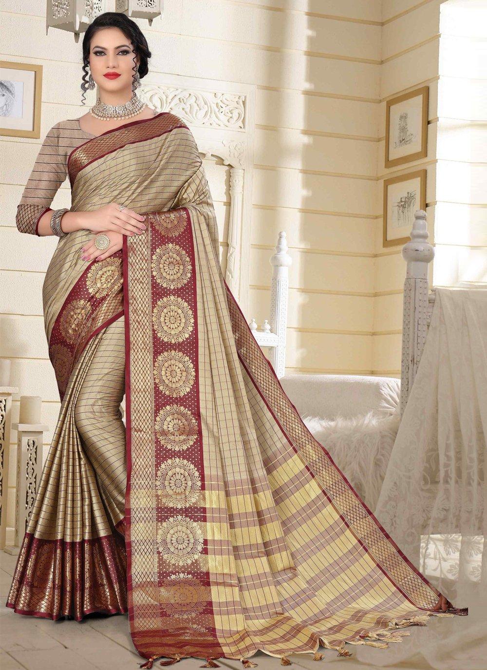 Beige Woven Cotton Silk Designer Traditional Saree